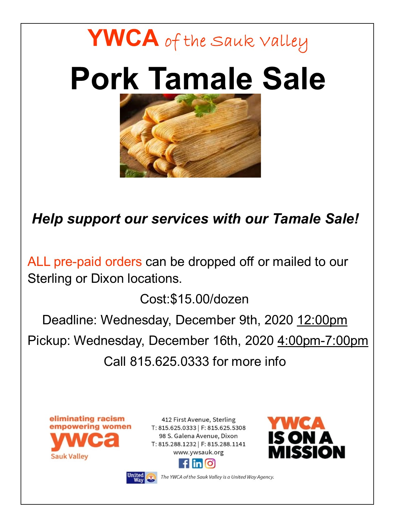 Pork Tamale Sale @ YWCA of the Sauk Valley