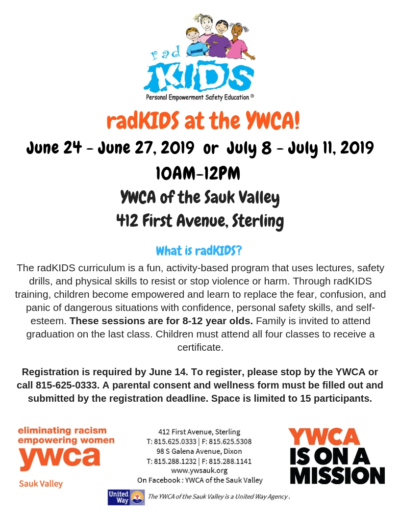 RadKIDS: Personal Empowerment Safety Education @ YWCA of the Sauk Valley  | Sterling | Illinois | United States