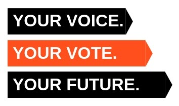 graphic, our voice, our vote, our future